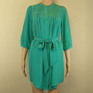 [Collective Concepts] Turquoise Pleated Belted 3/4
